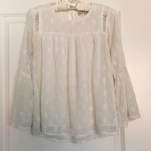 LOFT Bell Sleeve Boho Blouse, White, XXSP